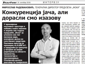 Others wrote about us: Interview with Mr. Miroslav Radovanovic,  General Manager of  Foka Ltd.